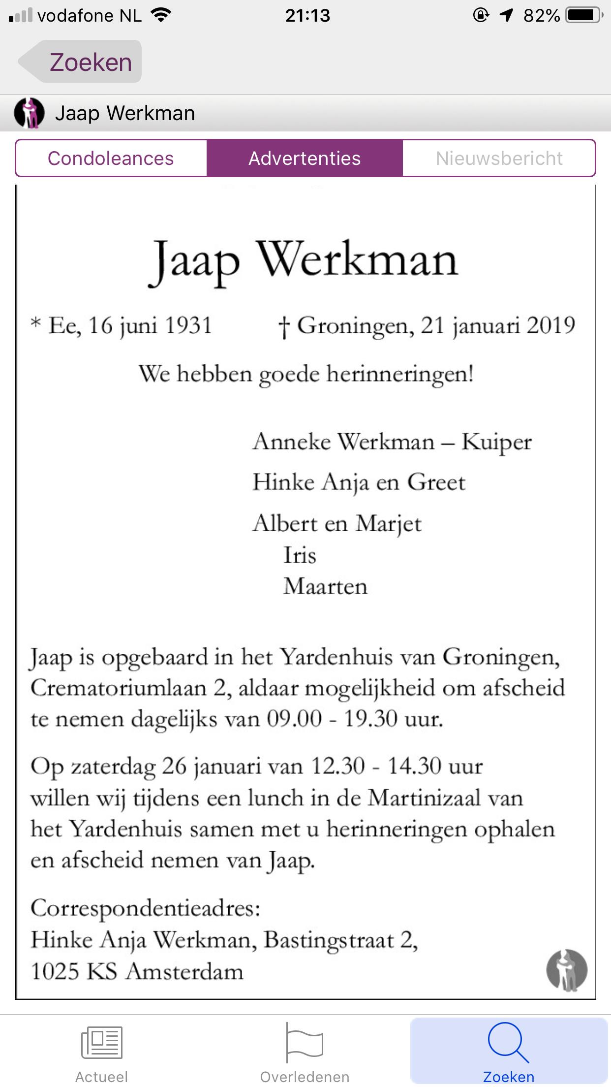 Oud lid Jaap Werkman overleden